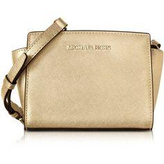 Michael Kors Handbags Pale Gold Metallic Saffiano Leather Selma Mini... ($200) ❤ liked on Polyvore featuring bags, messenger bags, mini messenger bag, saffiano leather bag, metallic bag, michael kors bags y zip top bag
