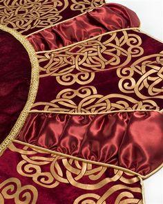 Burgundy Scroll Christmas Tree Skirt