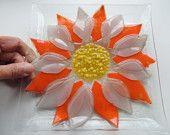 Artículos similares a Placa de vidrio fundido, flor placa, placa rosa naranja en Etsy