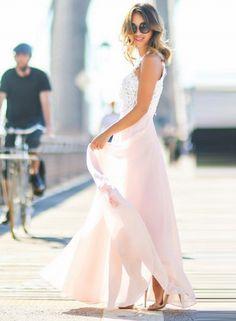 Sleeveless Lace Chiffon Evening Dress - OASAP.com