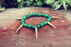Looking for the perfect Jade/Green Stone Spike Stretch Bracelet? Please click and view this most popular Jade/Green Stone Spike Stretch Bracelet. Green Stone, Jade Green, Stretch Bracelets, I Shop, Hair Accessories, Etsy, Bronze, Hair Accessory