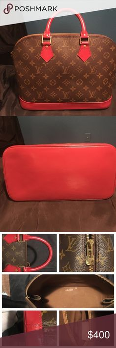 Authentic Louis Vuitton Alma bag Authentic hand painted and sealed. Stains inside the bag, minor tarnish on hardware. Painted autumn red. Bag has some minor flaws and it why it's priced lower. Please look at pictures. Let me know if you have any questions. Comes with free charm ❤ Louis Vuitton Bags Satchels