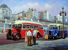 Choose your favorite summertime paintings from millions of available designs. All summertime paintings ship within 48 hours and include a money-back guarantee. Transport Pictures, Bus Art, Nostalgia, Transportation Technology, Nostalgic Art, Road Transport, Bus Coach, Great Western, Paintings For Sale