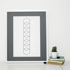 Geometric Art Print Minimalist Hexagon Design by Sweet Oxen www.sweetoxen.co.uk