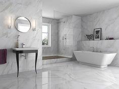 Marble Effect Bathroom Floor Tiles - Diy Projects - Salle de Bains 01 Grey Marble Bathroom, Grey Wall Tiles, Grey Bathrooms, Marbel Bathroom, Marble Tiles, Marble Floor, Bedroom Floor Tiles, Tile Floor Diy, Bathroom Flooring