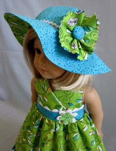 American Girl Doll Clothes - Sundress with Crossover Bodice/Wide Brimmed Hat in Green and Turquoise (white trim)