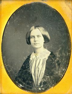1/9 Plate daguerreotype of a nice image with a sad note found behind plate. Note reades Sallie Loster from Sandwich, New Hampshire, died at 19 years and 4 months, taken at home.
