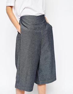 Image 3 ofASOS WHITE Denim Culottes with Side Pleat