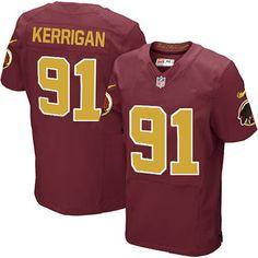 Men Nike Washington Redskins #91 Ryan Kerrigan Elite Burgundy Red Number Alternate 80TH Anniversary NFL Jersey Sale