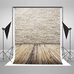 5x7 ft Light Gray Brick Wall Photo Backgrounds Wood Floor