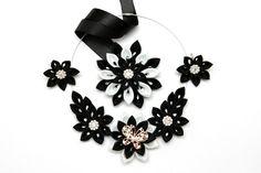 Kanzashi collar conjunto de 3 piezas. Collar de flores de tela