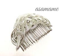 水引 コーム 松の葉 雪 Jewelry Knots, Minne, Bamboo, Weaving, Japan, Beads, Earrings, Handmade, Crafts