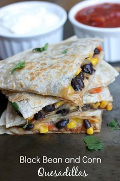 Black Bean and Corn Quesadillas are a cheese tortilla filled with a mixture of black beans, corn, onion, and bell pepper.