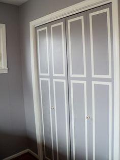 Home Diy Closet Door Makeover 15 Ideas Closet Door Redo, Closet Doors Painted, Folding Closet Doors, Mirror Closet Doors, Wooden Closet, Home Goods Decor, Diy Door, Home Interior Design, Interior Doors