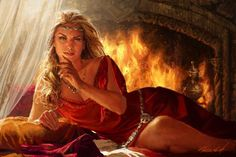 Cersei Lannister (2004) by Michael Komarck. Art for the CCG A Game of Thrones.