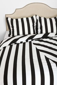 Black and white striped bedding