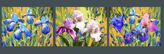 Irises - 3 paintings Impressionism. Palette Knife Oil Painting on Canvas by Dmitry Spiros. Size: 20x26 Medium: Oil, acr. Canvas