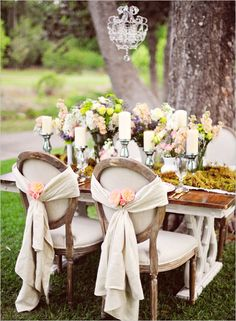 dinner party - chandier; chair sashes