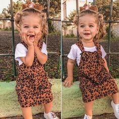 Material: Cotton Dresses Length: Knee-LengthCollar: O-neckFit: Fits true to size, take your normal size Length (in) Bust (in) Spring Outfits, Girl Outfits, Spring Clothes, Little Fashionista, Leopard Dress, Overall Dress, Summer Kids, Costume Dress, Girl Costumes