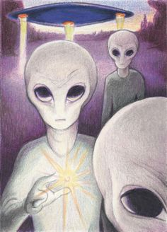 Alien Offering Drawing  - Alien Offering Fine Art Print
