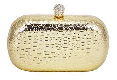 Clutch Dourada Crocodilo. Bolsa de festa com textura e rígida, detalhes em mini cristais.