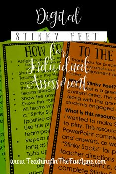 Are you looking for a creative, engaging way to assess your students? Give Digital Stinky Feet a try! This is the same game your students love to play whole group tweaked just a tiny bit to make the perfect independent assessment! Cooperative Learning Strategies, Teaching Strategies, Teaching Resources, Leadership Activities, Group Activities, Teacher Blogs, New Teachers, Teacher Stuff, Back To School Activities