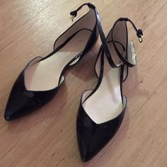 Nine West black patent leather pointy flats Size 5. Worn once for less than an hour indoor. Excellent condition. Ankle straps. Super comfy! Nine West Shoes Flats & Loafers