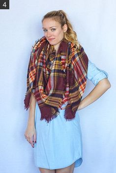 My 9 Favorite (Super Easy) Ways to Tie a Scarf - Style by Joules How To Fold Scarf, How To Wear A Blanket Scarf, Ways To Wear A Scarf, Diy Scarf, Scarf Dress, How To Wear Scarves, Fall Outfits, Cute Outfits, Fashion Outfits