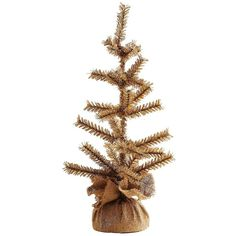 """K & K Interiors 24"""""""" Glittered Pine Christmas Tree ($19) ❤ liked on Polyvore featuring home, home decor, holiday decorations and gold"""