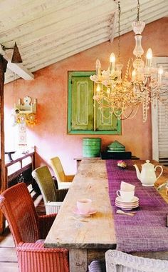 Eclectic Bohemian Style Dinning Room Décor. Colorful / Chandelier / Mixed Chairs / Purple / Green / Peach