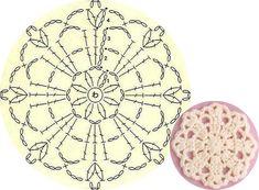 Crochet Motif Patterns, Crochet Diagram, Square Patterns, Freeform Crochet, Crochet Chart, Crochet Stitches, Crochet Snowflakes, Crochet Doilies, Crochet Flowers