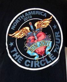 Bon Jovi 2010 North American The Circle Concert Tour Black T-Shirt L #Hanes #GraphicTee