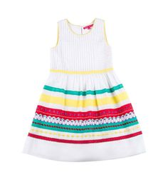 Derhy ! Mädchen Kleid  .Farbe: weiss-bunt, aus 100%Baumwolle, mit weit schwingendem Rockteil. und bunten Bordüren besetzt. Pflegeleicht. Neu mit Etikett,in der Gr.8-10. Gr. 128.
