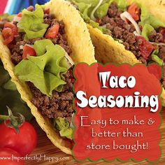 Homemade Taco Seasoning - easy to make and better than store bought! | by ImperfectlyHappy.com