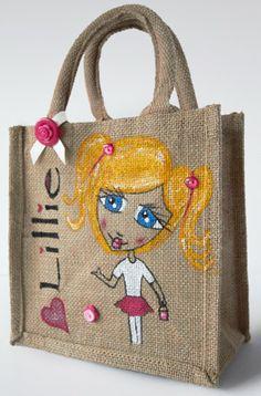 Small Personalised Hand Painted Jute Bags. by PurplePebbleStudios, £11.99