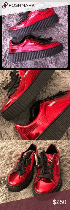 Puma Basket Creepers Creeper sole. Metallic cherry... never worn with box. Women's size 7. Exclusive pair! Love them but need to make more room in my sneaker closet! Price is fairly firm but open to offers. Puma Shoes Sneakers