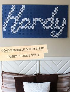 Our final Family DIY of the week is a SUPER SIZED family cross-stitch art piece! #diy #family #crossstitch