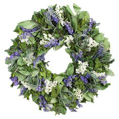 Preserved myrtle wreath with natural grass and larkspur.   Product: Preserved wreathConstruction Material: Natura...