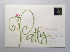 May PTEX to Patty and Anthea (pushing the envelopes) Hand Lettering Envelopes, Mail Art Envelopes, Calligraphy Envelope, Doodle Lettering, Envelope Art, Envelope Design, Creative Lettering, Addressing Envelopes, Lettering Styles