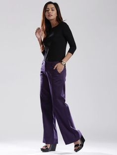 D Muse By DressBerry Purple Wide Leg Casual Trousers