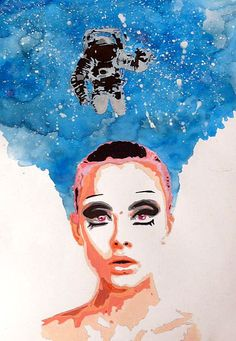 "Get lost in the space of thoughts  ""perdersi nello spazio dei pensieri"" acrylic on paper size 48x33 cm"