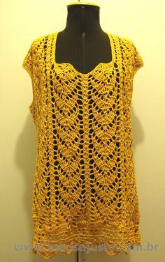 Blusa crochet a mão, fio de algodão 100% mercerizado.  GG