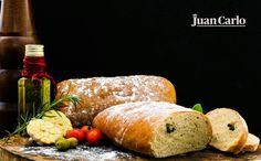Juan Carlo's Olive Ciabatta a rustic Italian bread exquistely made with flour salt, yeast and olive oil. Rustic Italian Bread, Ciabatta, Olive Oil, Choices, Salt, Menu, Dishes, Food, Menu Board Design