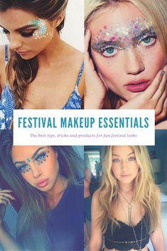The best festival makeup ideas and glitter essentials to guarantee you look amazing hot this summer. Includes DIY tips for dots, eyes and lips. Festival Makeup Essentials.