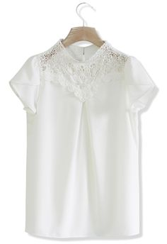 Dolly Chiffon Top with Crochet Insert