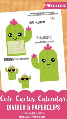 Free Printable Cactus Calendar divider and paperclip for your planner, travel notebook or bullet journal.