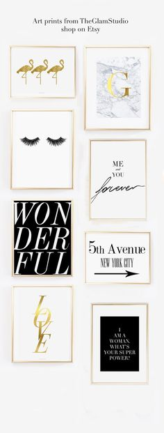Cute wall gallery idea for the home office decorated with pretty fashion art prints http://amzn.to/2saX2w8