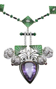 Vintage Amethyst & Diamond Necklace, The chain is composed of 9 gold and enamel segments, each centered with marquise shaped diamond, alternating emerald rondelles and black enamel bars.  Center piece is a pear shaped amethyst hanging from a enamel bar surrounded with diamond encrusted flowers. Art Deco, 1930s.