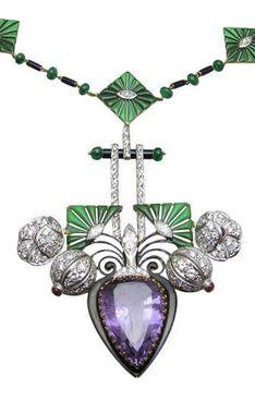 Vintage Amethyst & Diamond Necklace, Circa 1930s.