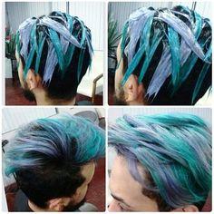 Fab colours on this guy Boys Colored Hair, Coloured Hair, Mens Hair Colour, Hair Color, Green Hair, Blue Hair, Galaxy Hair, Magic Hair, Hair Dye Colors